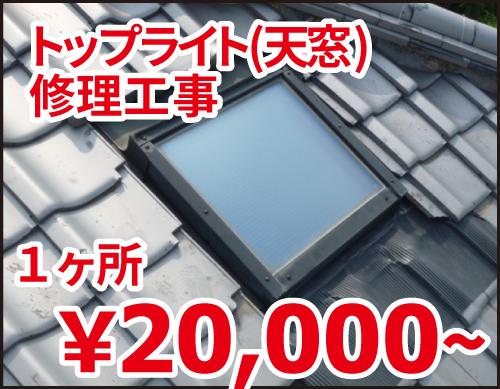 トップライト(天窓)修理工事 一箇所2万円~